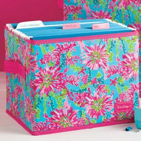 lilly pulitzer desk accessories large fabric storage box in trippin and sippin by lilly