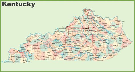 map of kentucky counties road map of kentucky with cities