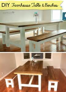 Diy Kitchen Table Bench Diy Farmhouse Table And Bench Using Free Plans From White
