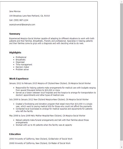 Hospice Resume Professional Hospice Social Worker Templates To Showcase Your Talent Myperfectresume