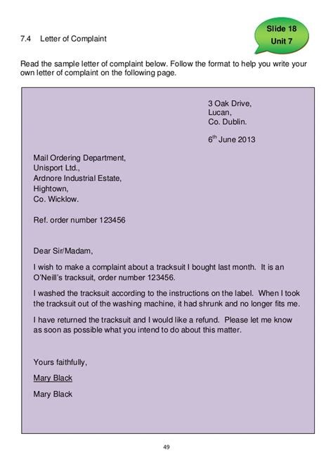 Complaint Letter Demo Communications Level 5 Learner S Record
