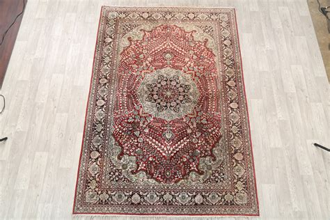 6x9 Area Rugs 100 by 100 Silk Floral 6x9 Kashmir Area Rug
