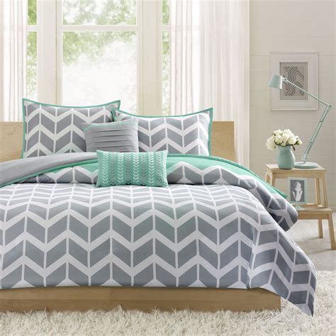 teal and grey chevron bedding reversible blue teal white grey aqua chevron sport stripe