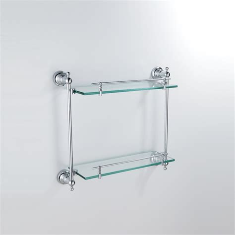 Bathroom Glass Shelves With Rail Bathroom Bath Shelves Modern Contemporary Chrome Finish Silver Layer Bath Shelf Brass