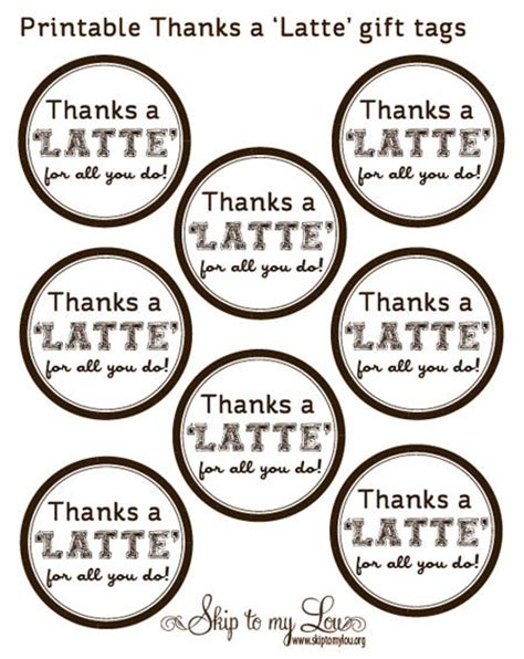 thanks a latte card template end of year gift idea quot thanks a latte quot coffee