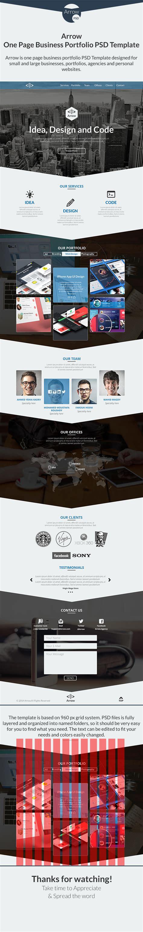 Free Arrow One Page Business Portfolio Template Psd Titanui Single Page Portfolio Template Free