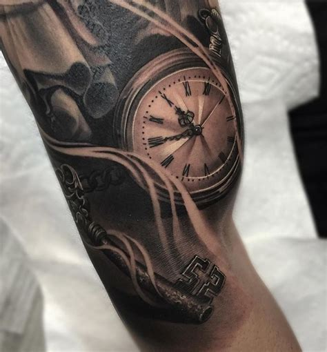 pocket watch amp skeleton key pinterest tattoo ideen