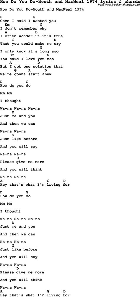 How Do You Search For On Song Lyrics For How Do You Do And Macneal 1974 With Chords