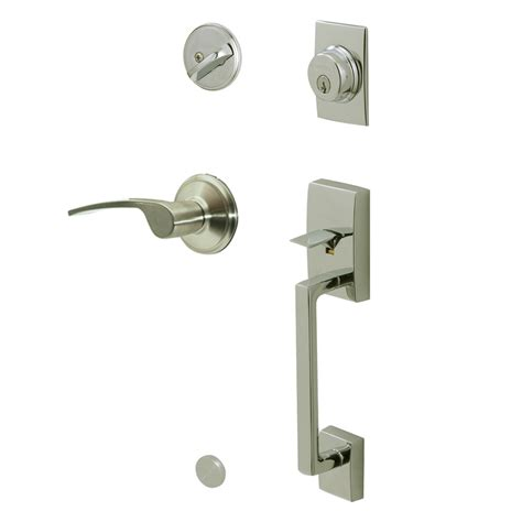 Exterior Door Handlesets Shop Schlage Century Traditional Satin Nickel Single Lock Keyed Entry Door Handleset At Lowes