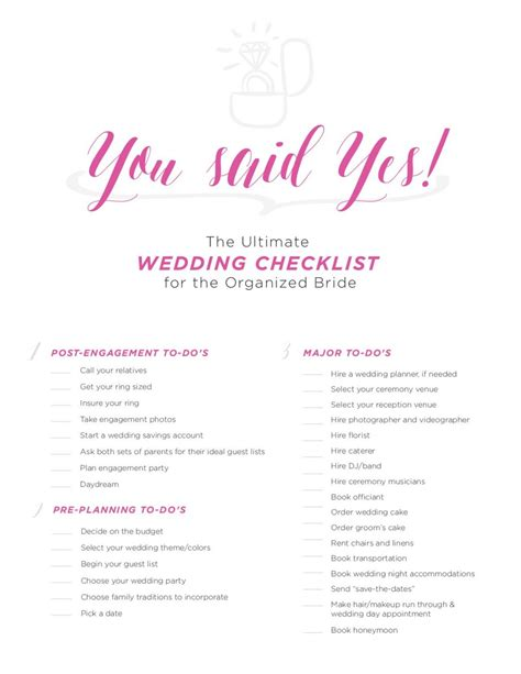 printable wedding decor checklist the ultimate wedding checklist for the organized bride