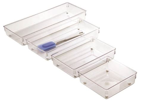 Linus Drawer Organizers by Linus 52660 Drawer Organizer 15 In L X 6 In W X 2 In H Plastic Clear