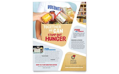Food Pantry Brochure by Food Bank Volunteer Brochure Template Design