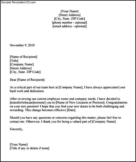 Transfer Letter Format For Transfer Confirmation Letter Template Pdf Sle Sle Templates