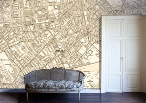 map wallpaper eclectic living room london by