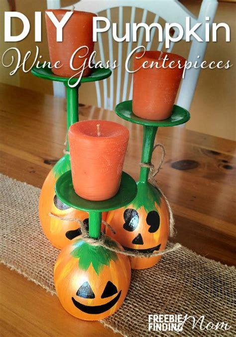wine glasses for centerpieces diy pumpkin wine glass centerpieces