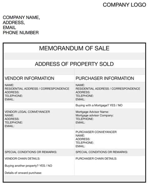 sle of memorandum memorandum of sale definition
