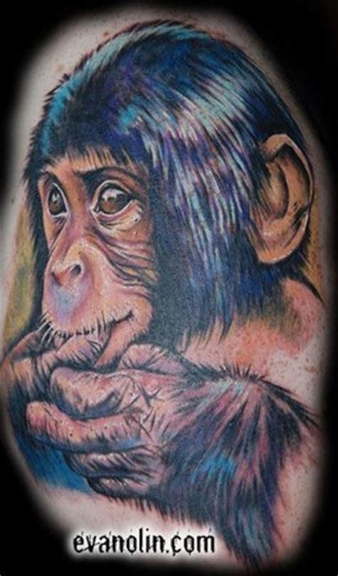 tattooed heart studios baby monkey by evan olin tattoonow