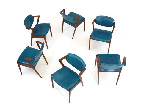 turquoise leather dining room chairs six kristiansen teak dining chairs in turquoise