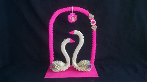 How To Make Showpiece With Paper - 3d origami swan showpiece