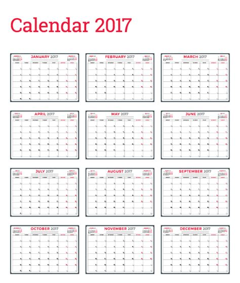 wall calendar templates common 2017 wall calendar template vector 12 vector