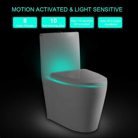 Motion Activated L by Toilet Seat 8 Colors Led Light Sensor Motion Activated