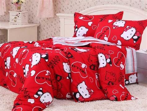 hello kitty bed in a bag queen duvet covers bed in a bag 5pc lucky red hello kitty