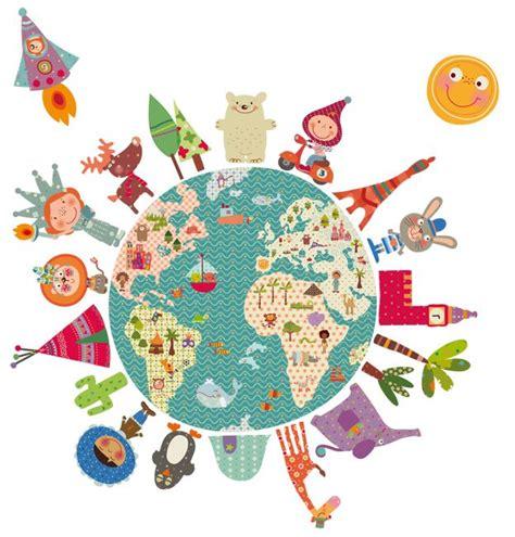 del dibujo infantil a vinilo infantil de tela la bola del mundo decohappy
