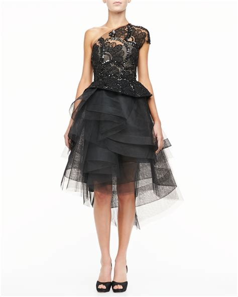 beaded lace dress lhuillier beaded lace oneshould cocktail dress in