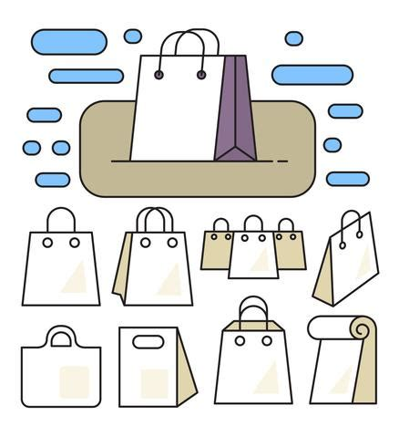linear paper bags download free vector art, stock