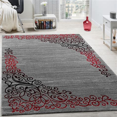 Designer Rug With Floral Pattern Shimmering Yarn Red Grey Designer Rugs