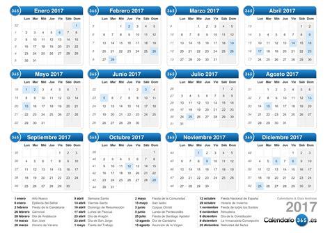 Calendario De Vacaciones 2017 Calendario 2017