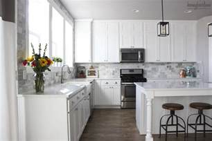 backsplash subway tile for kitchen my diy marble backsplash honeybear lane