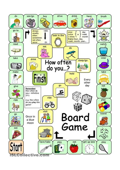printable games english grammar board game how often teach speaking pinterest