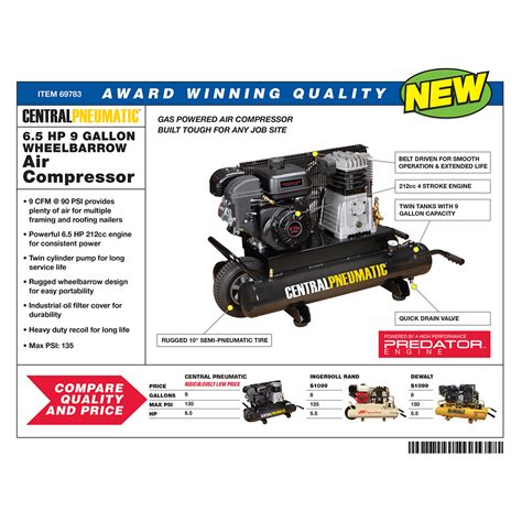 gal cc  psi wheelbarrow air compressor epa iii