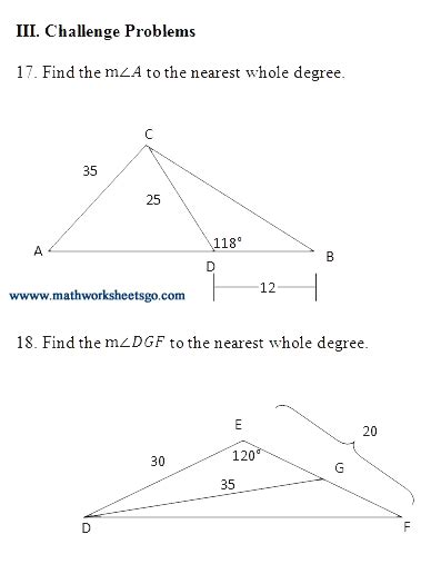 Of Cosines Practice Worksheet by Of Sines And Cosines Worksheet With Key Pdf
