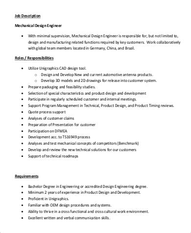design engineer job responsibilities design engineer job description sle 9 exles in pdf