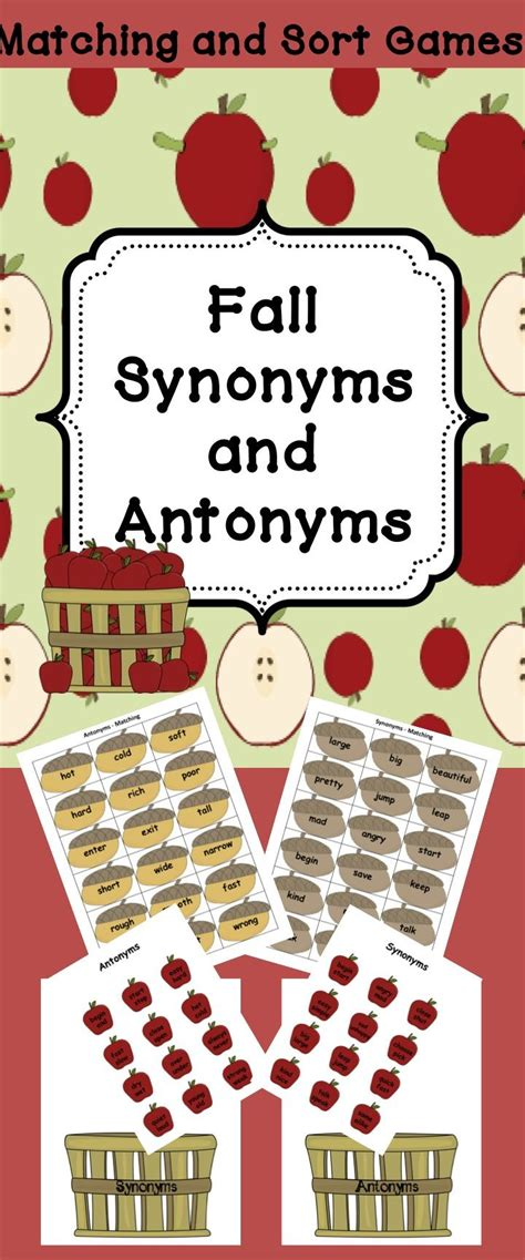 theme synonym and antonym apples synonyms and antonyms matching games