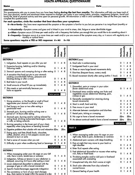 printable health questionnaire medical questionnaire form templates free printable