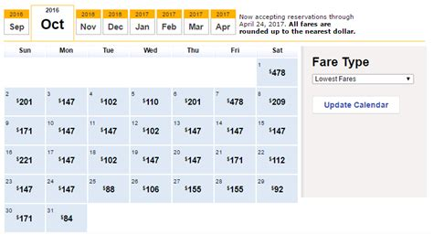 Fare Calendar Booking And Flying Southwest Airlines Touringplans