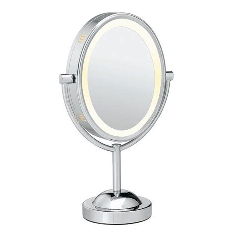 oval lighted makeup mirror oval chrome 1x 7x sided lighted mirror cosmetic