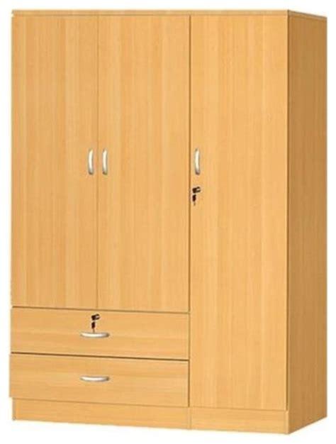 Beech Wardrobe - hodedah hid2080 beech 3 door wardrobe wardrobes and