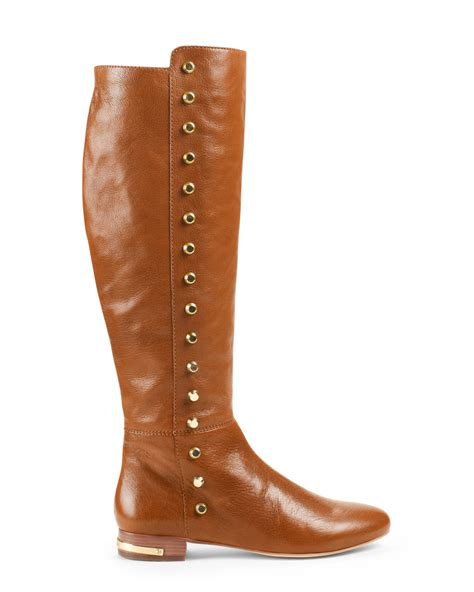 michael kors michael ailee flat studded knee boot in brown