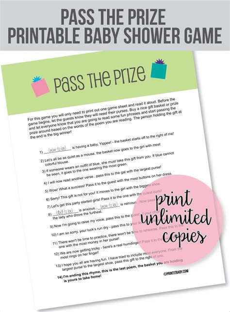 Baby Shower Pass The Gift by Pass The Prize Baby Shower Green Gift Print It Baby