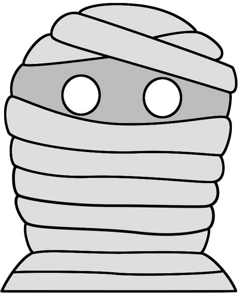 halloween mummy mask paper craft color template