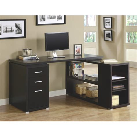 Buy Corner Desk by 3 Drawer Corner Desk Cappuccino Brown Desks