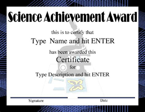 science certificate template stencils arts and crafts design award
