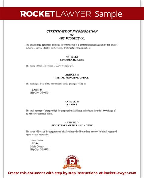certificate of organization template certificate of incorporation for delaware with sle