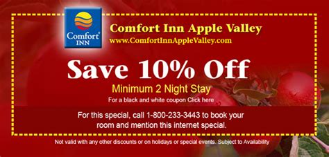 Coupon For Comfort Inn by Comfort Inn Apple Valley Coupon