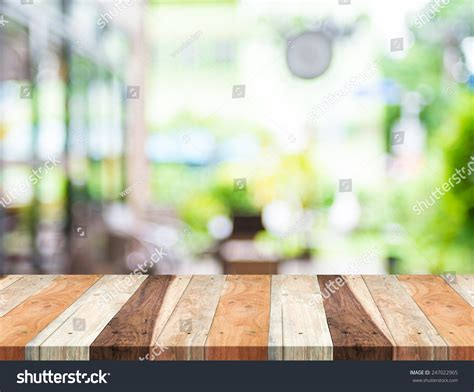 Woods Vintage Home Interiors Empty Tropical Wood Table Blurred Garden Stock Photo