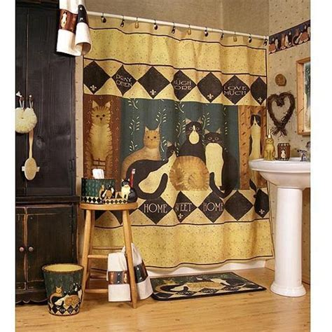 country shower curtains and accessories country cats shower curtain bath accessories townhouse